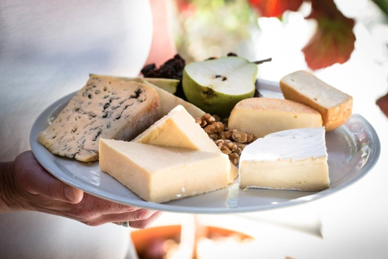 Cheese platter of farmhouse cheeses from the Milawa factory