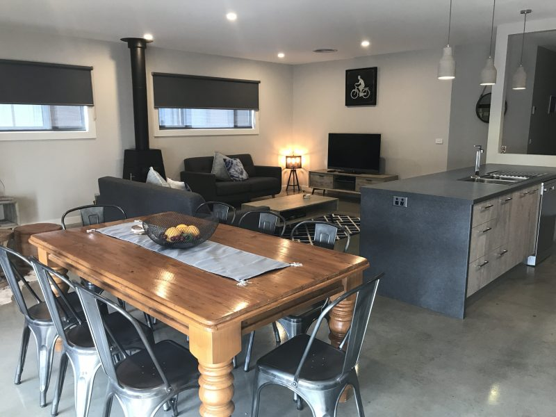 dining, lounge and kitchen