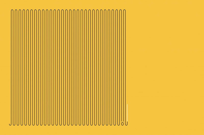 yellow and black graphic lines winding across the landscape