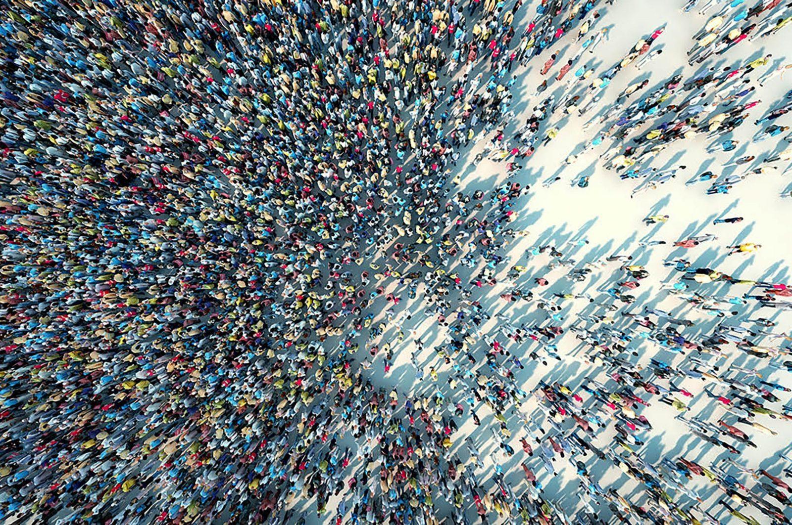 birds eye view of huge crowd of people