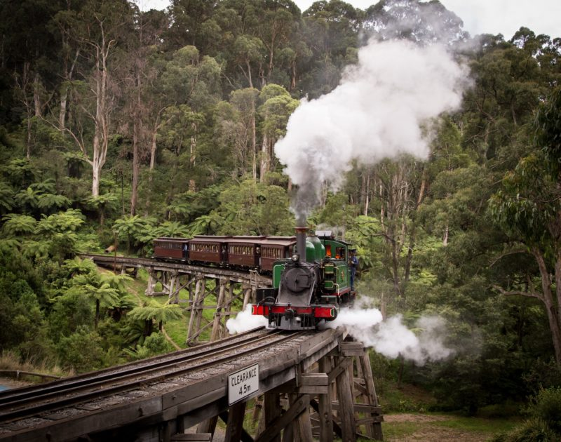 Puffing Billy Railway travels over the historic Trestle Bridge with dining carriages
