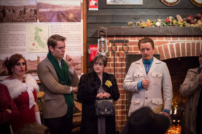 Murder Mystery actors entertain patrons at Puffing Billy's Nobelius Packing Shed