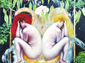 Natasha Ber: 'Mary and Witch' Oil on Panel 60 x 90 cm