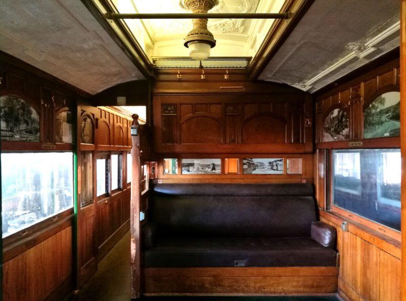 The stunning ornate timberwork and pressed metal ceilings of 1907-built sleeping car 'Torrens'.