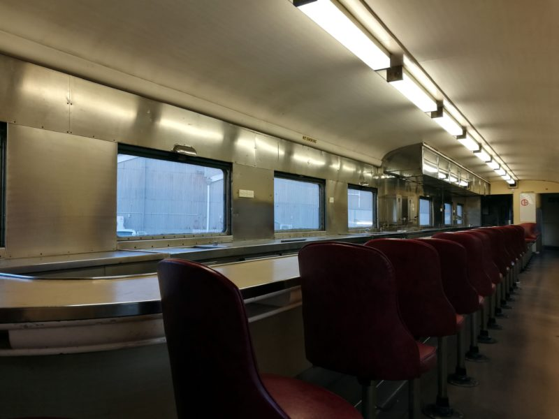 Ultra-modern in its day: the stainless steel interior of 1939 buffet car 'Mitta Mitta'.