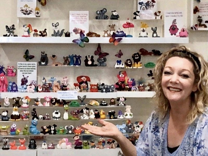 Artist Kerrie with some of her handmade noofies.