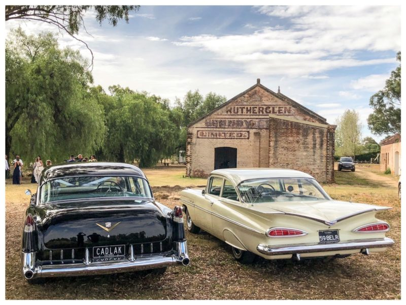 1959 Bel Air coupe and 1955 Cadillac car