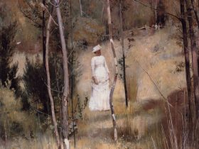 Tom Roberts painting of two lovers arguing in the bush