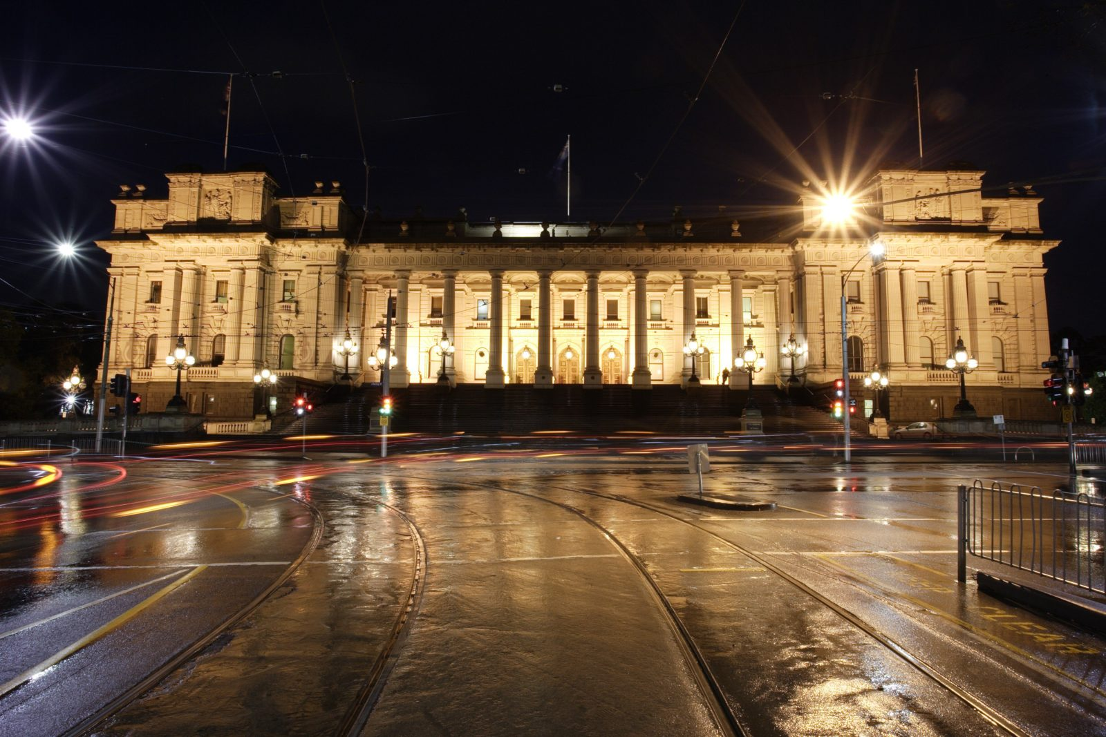 Parliament of Victoria at night