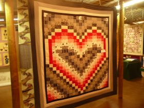 Patchwork quilt on display