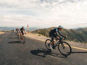 Cyclist climbing Mt Hotham