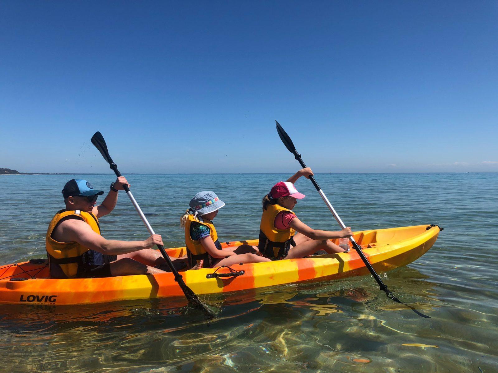 Family fun on the Kayaks at Mount Martha Beach.