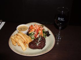 Gippsland eye fillet with mushroom sauce and garden salad
