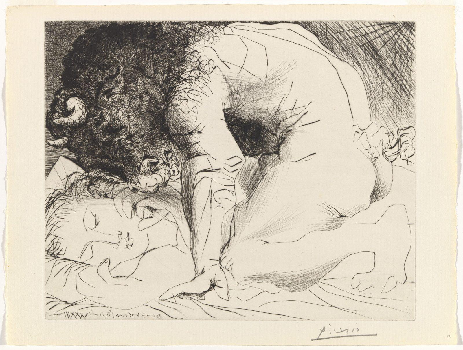 Pablo Picasso, Minotaur caressing a sleeping woman, 1933-34