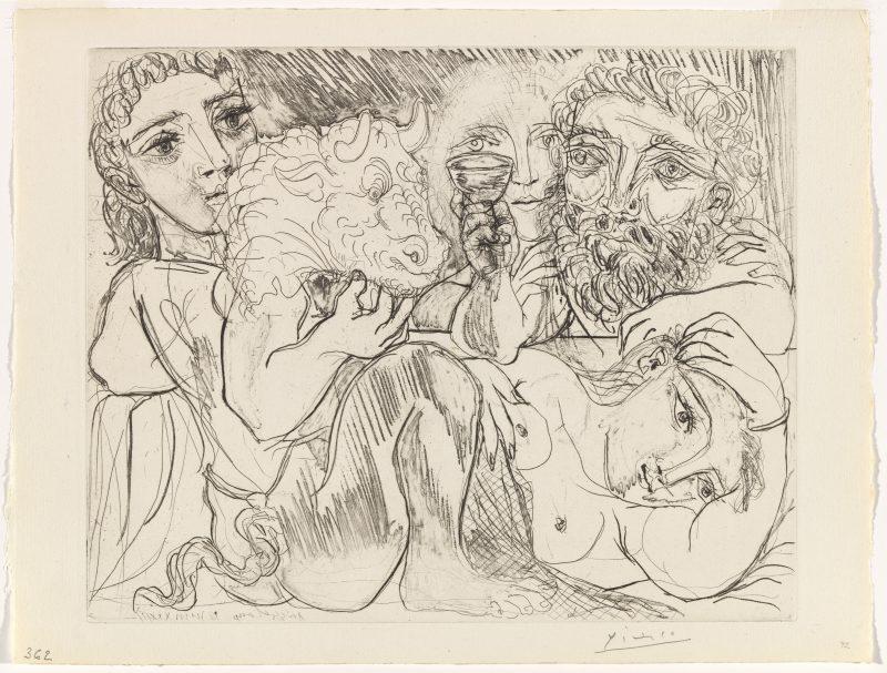 Pablo Picasso, Minotaur, man drinking and women