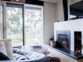 Polperro Winery Luxury Accommodation - Open Fire and Vineyard Views
