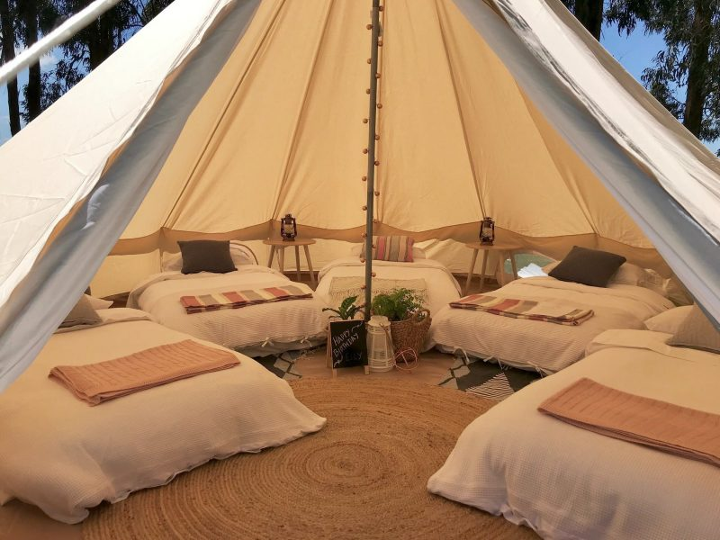 Port Fairy Glamping bell tent set up for 5 Occupants