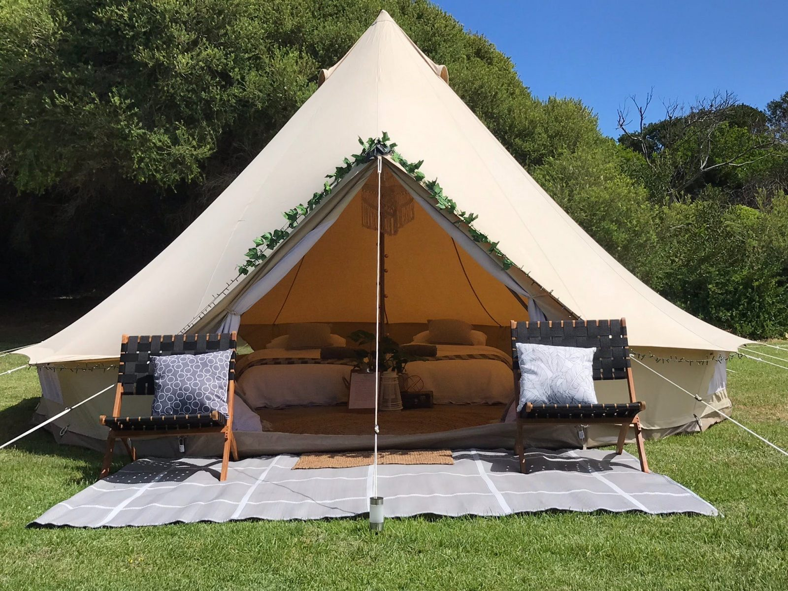 Port Fairy Glamping bell tent set up at Southcombe Park Port Fairy