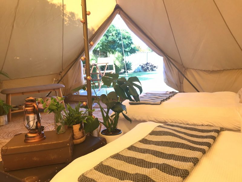 A Port Fairy Glamping bell tent turns camping in to glamping