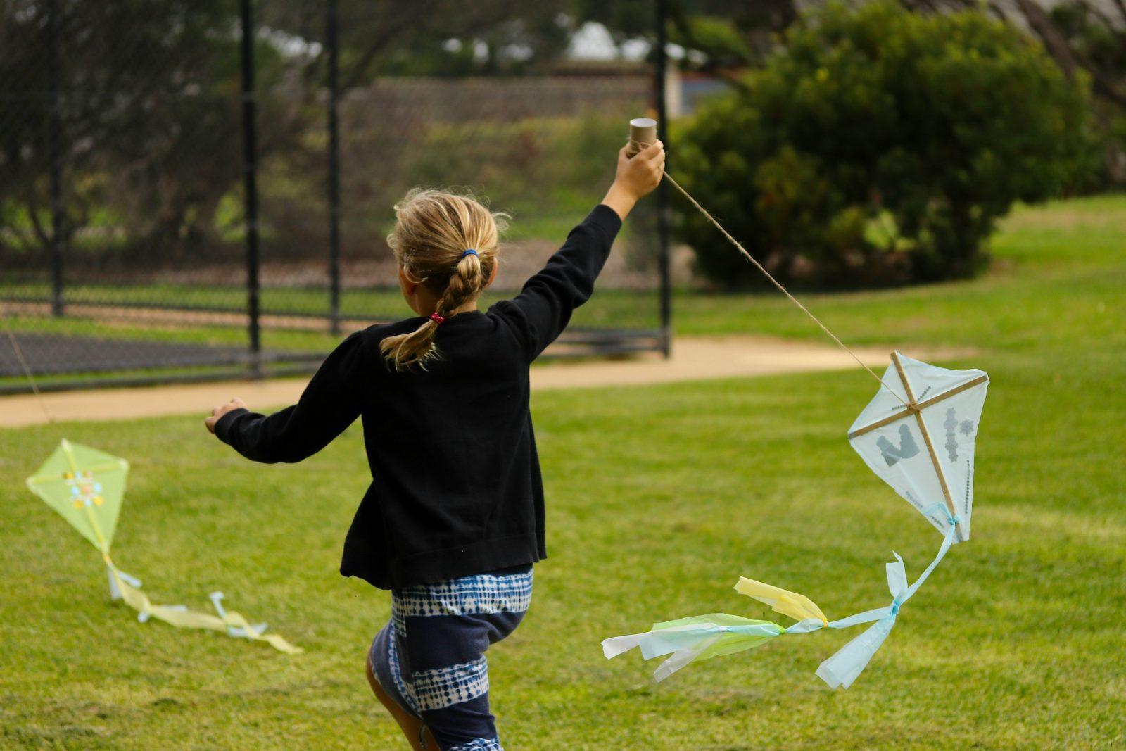 Children's kite making at Prom Coast Festival