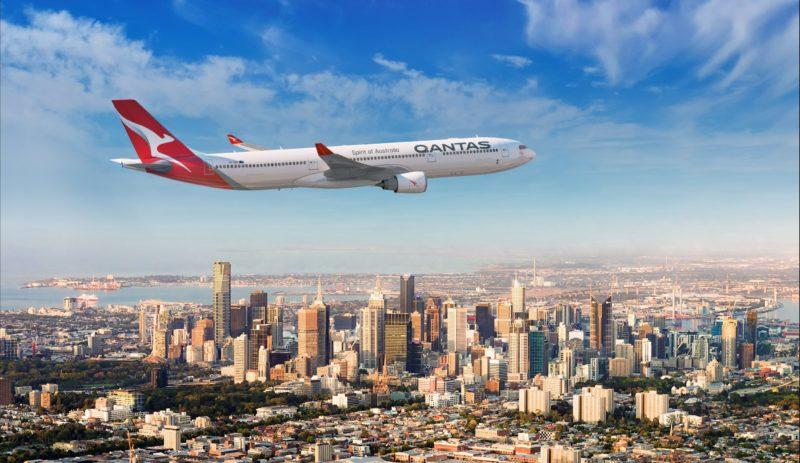 Qantas aircraft over Melbourne