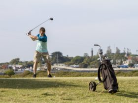 Teeing off from the 6th with Queenscliff in the background