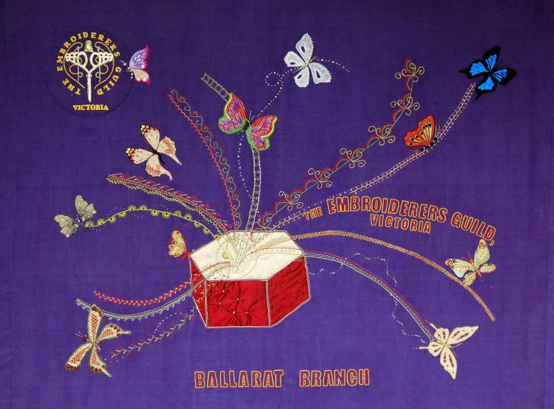 The banner representing the Ballarat Branch of the Embroiderers Guild Victoria was created by approx