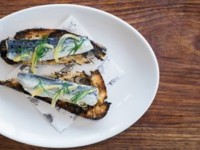Sardines, toast and preserved lemon