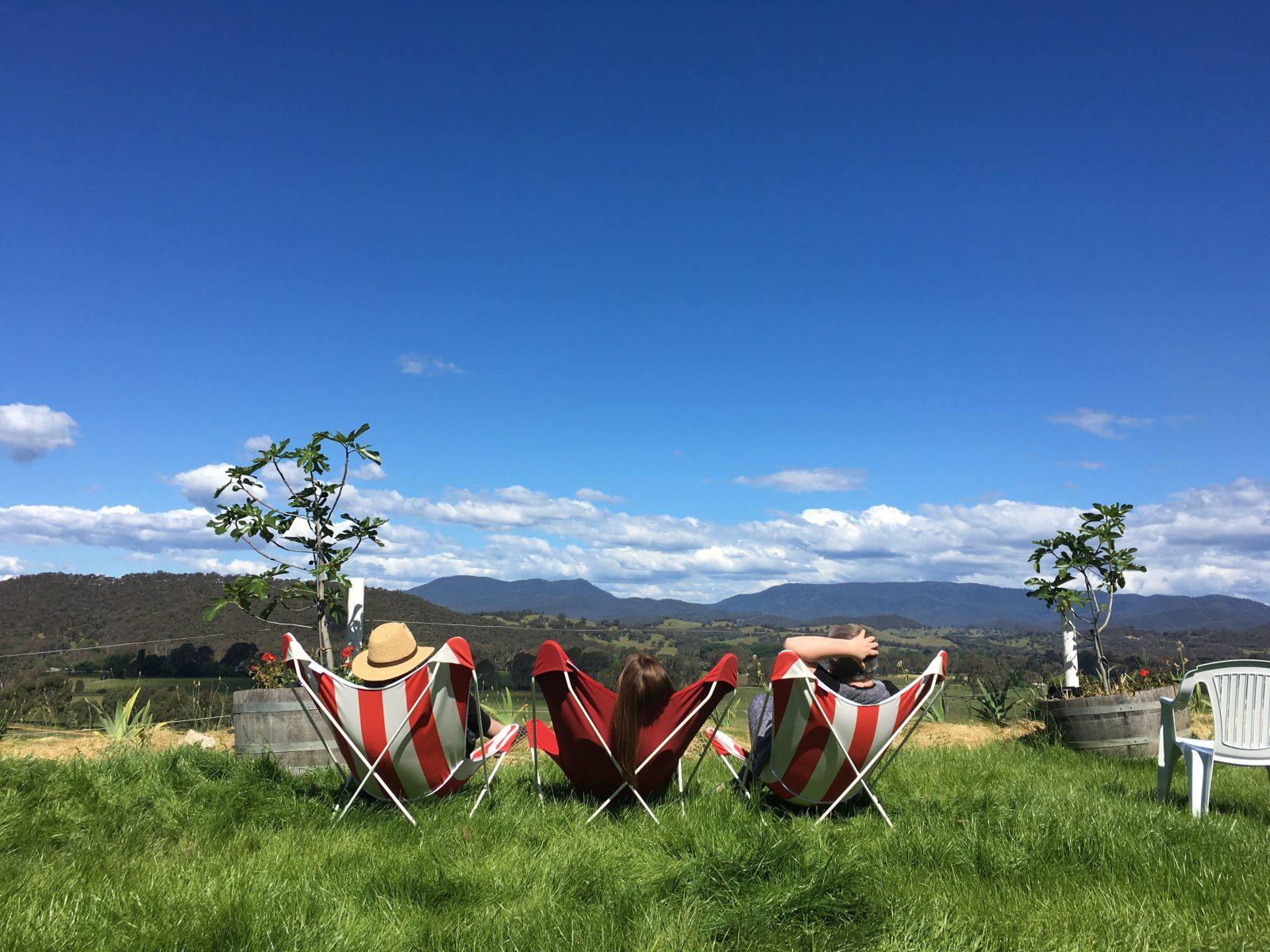 Enjoying the sun at Red Feet Wines