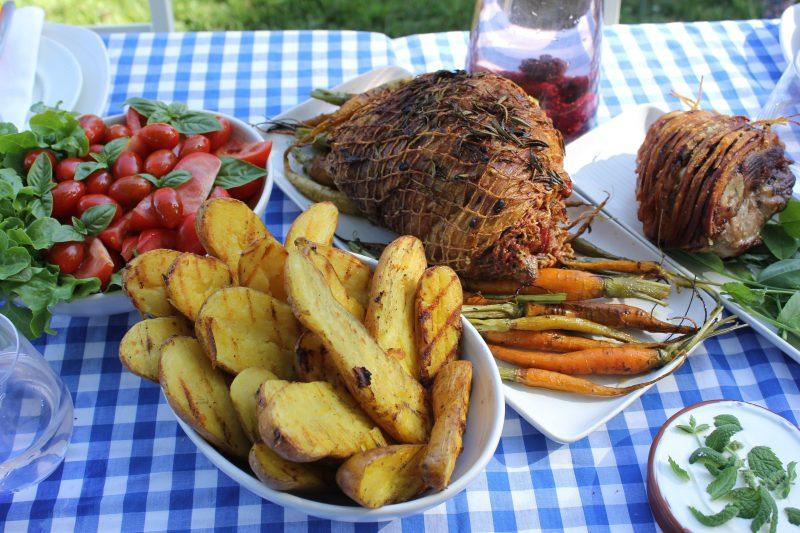 Lunch: roast port and lamb, garden vegetables