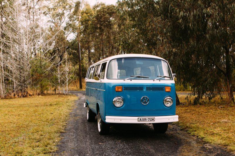 Front side of blue Kombi campervan