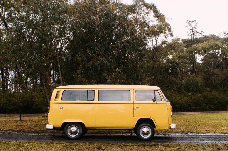 Side on mustard Kombi campervan