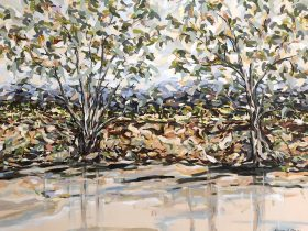 Landscape painting by the Murray River Albury Wodonga