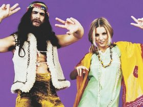Two people in 1970s style clothing