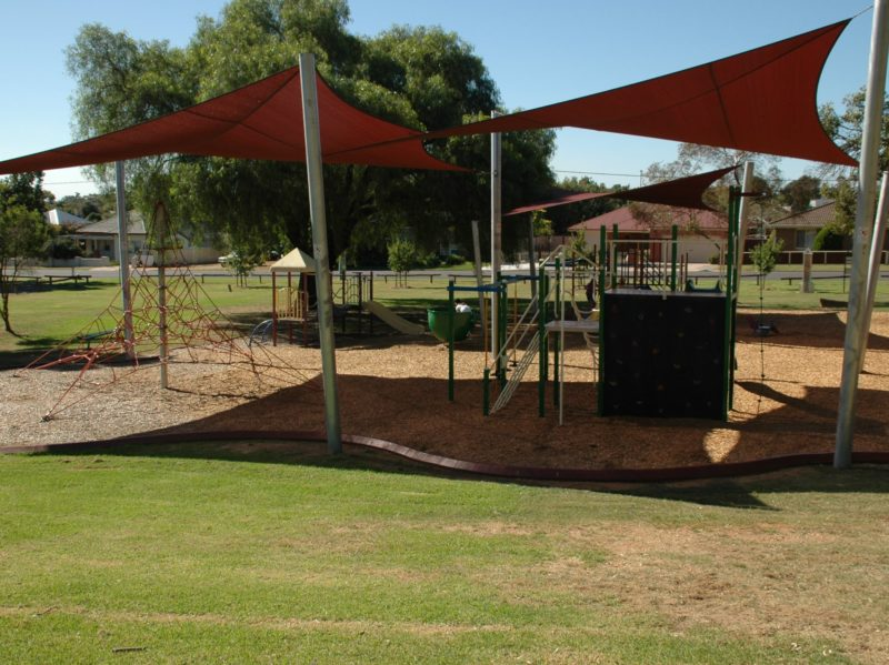 Swings, slides, climbing wall at the Rutherglen Apex playground