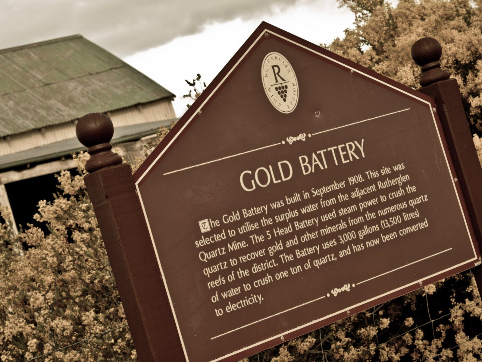 Gold Battery Sign