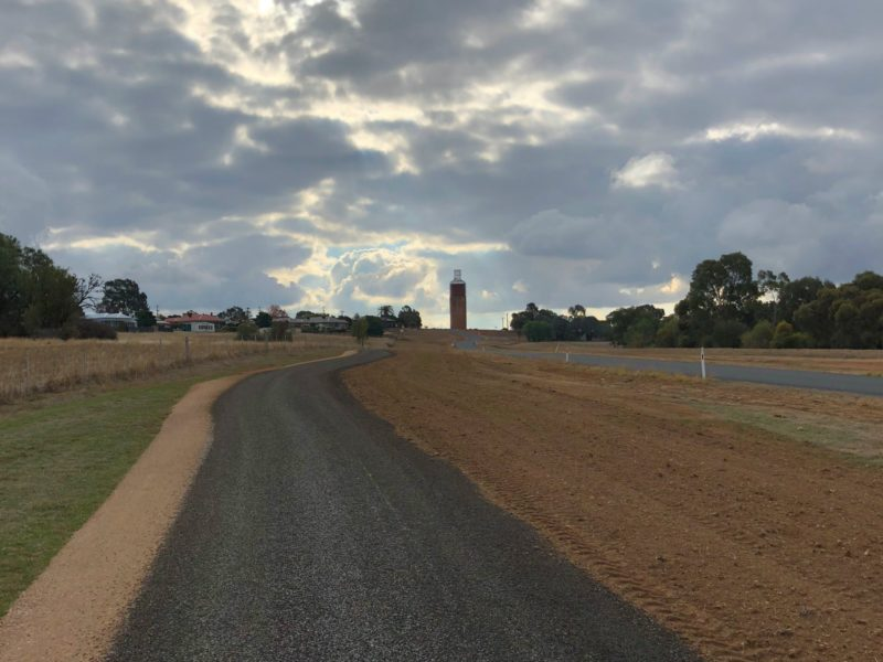Hopetoun Road leads up to the historic Rutherglen wine bottle