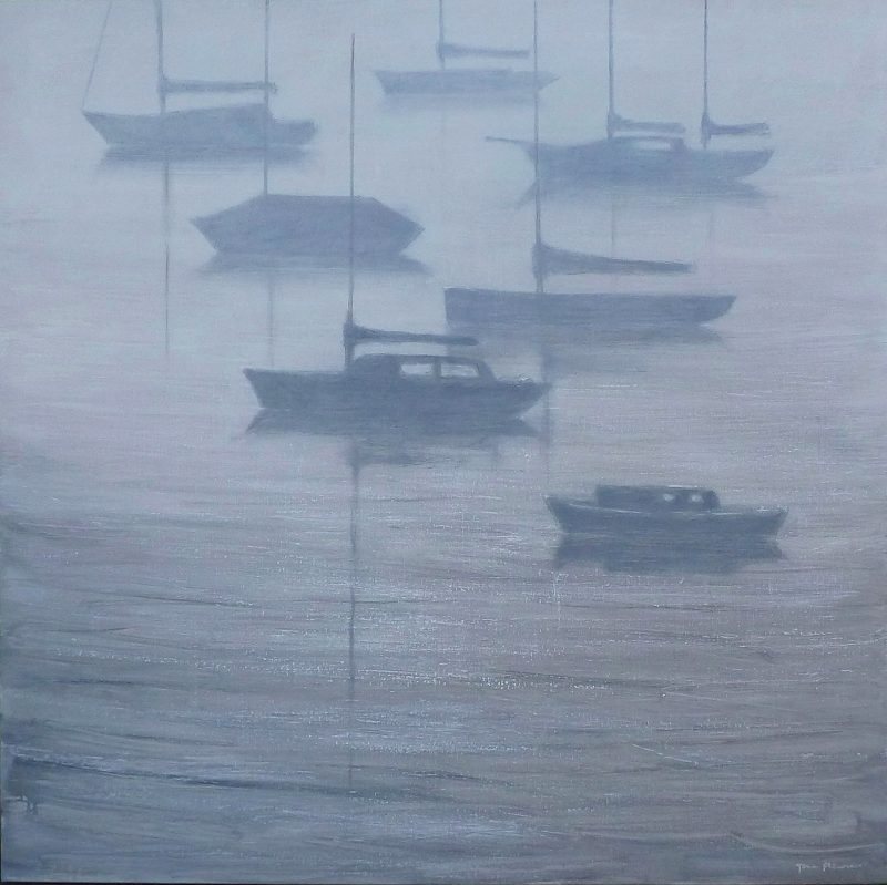 Metropolis Gallery - Jane Flowers 'Silvery Yachts' Oil on canvas 122x122cm