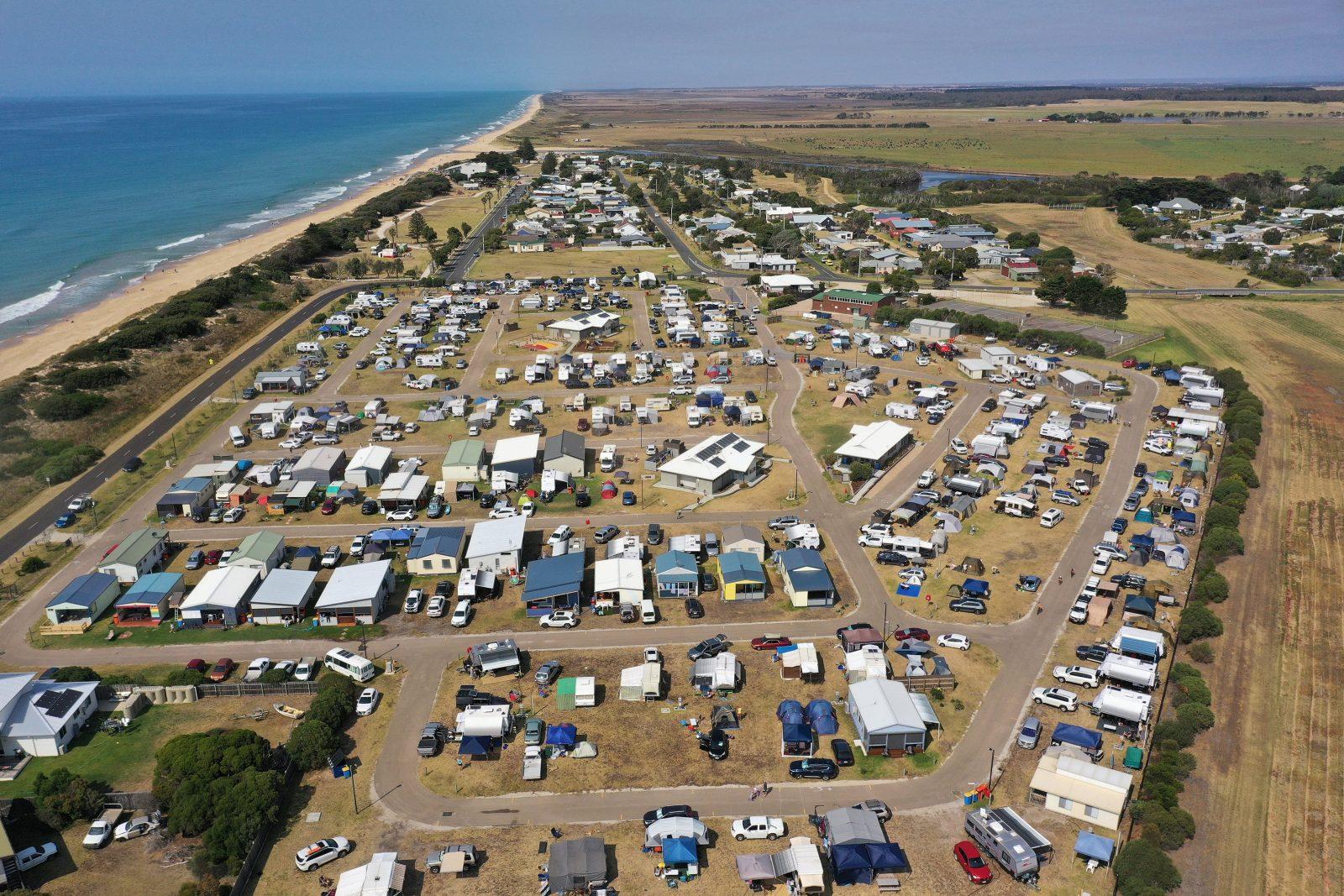 Aerial of Seaspray and caravan park