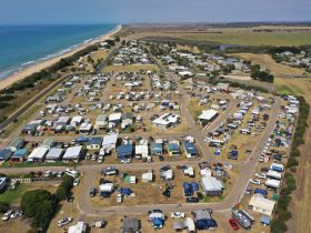 Aerial of Seaspray and caravan park