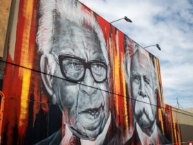 The mural, painted by well known artist Adnate depicts the late William Cooper and the late Pastor S