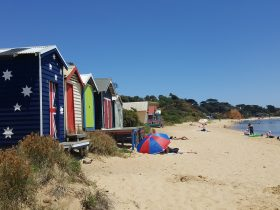 Colourful bathing boxes and safe swimming beach at Ahire Hall Beach Mornington