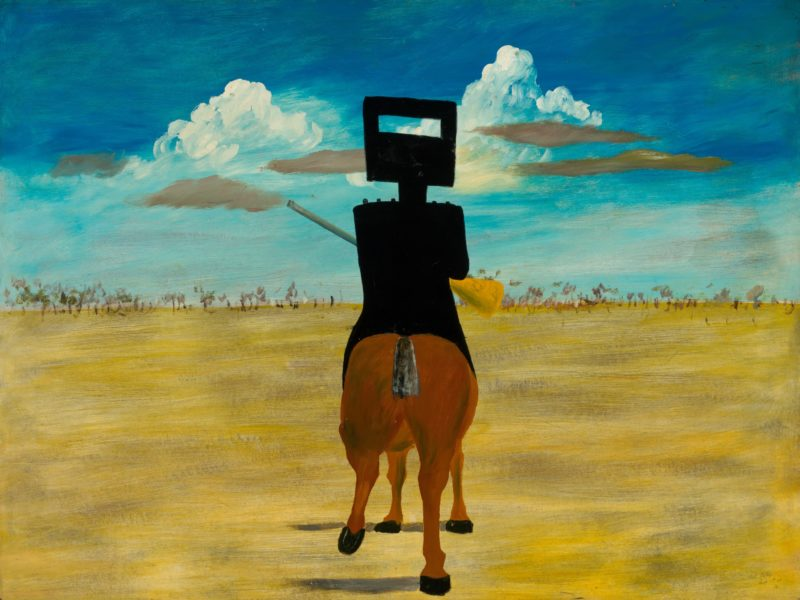 Sidney Nolan Ned Kelly 1946, enamel paint on composition board. National Gallery of Australia.
