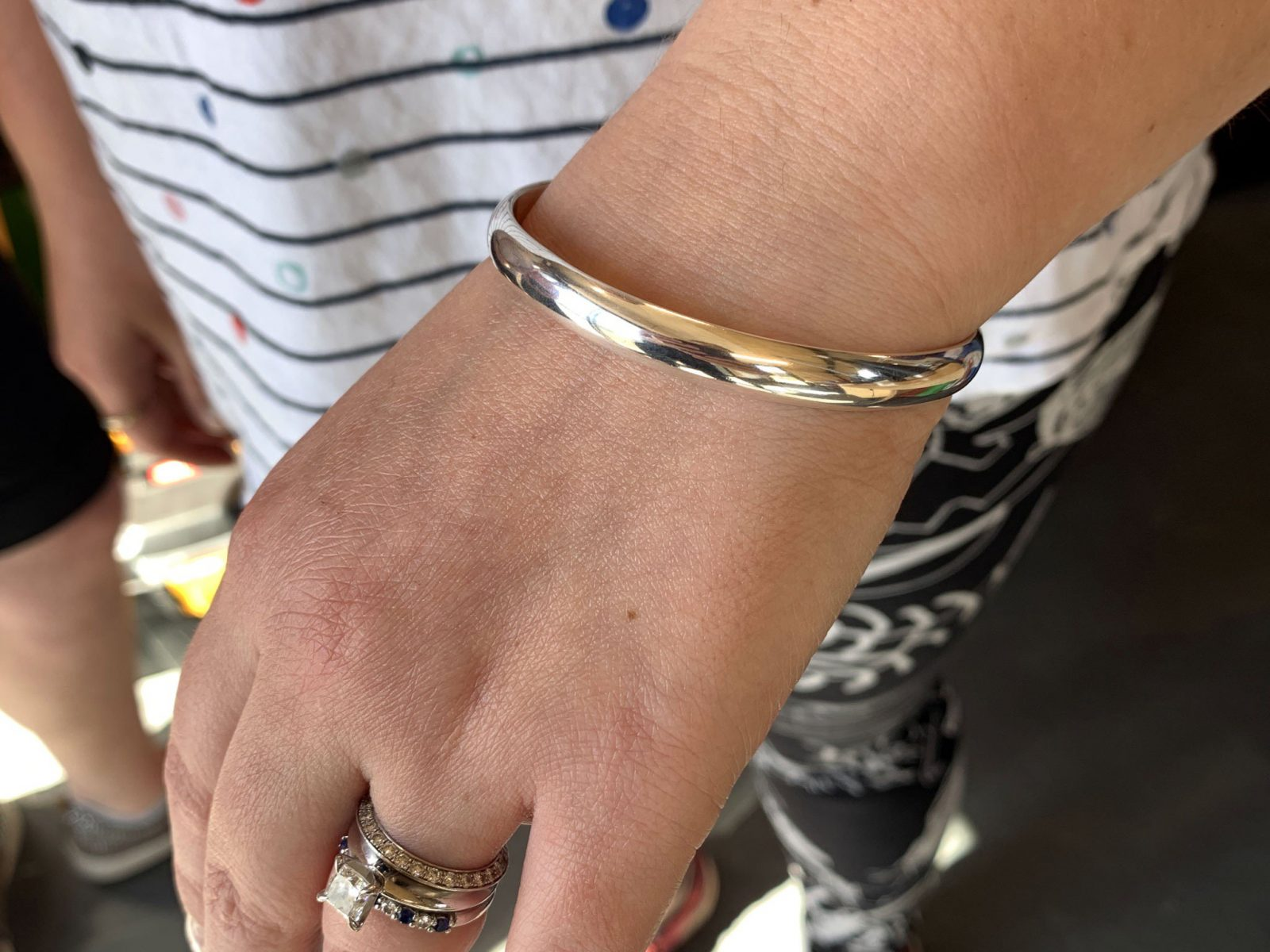 Solid sterling silver bangle made by a student in the Silver Bangle Making Workshop   Pod Jewellery