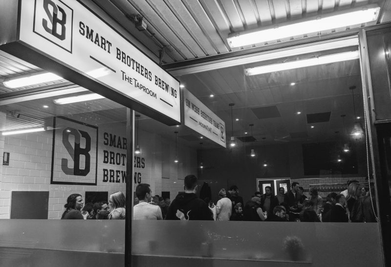 Smart Brothers Brewing - Taproom on a Friday evening from outside