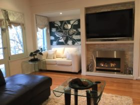 Log fire and wall mounted television