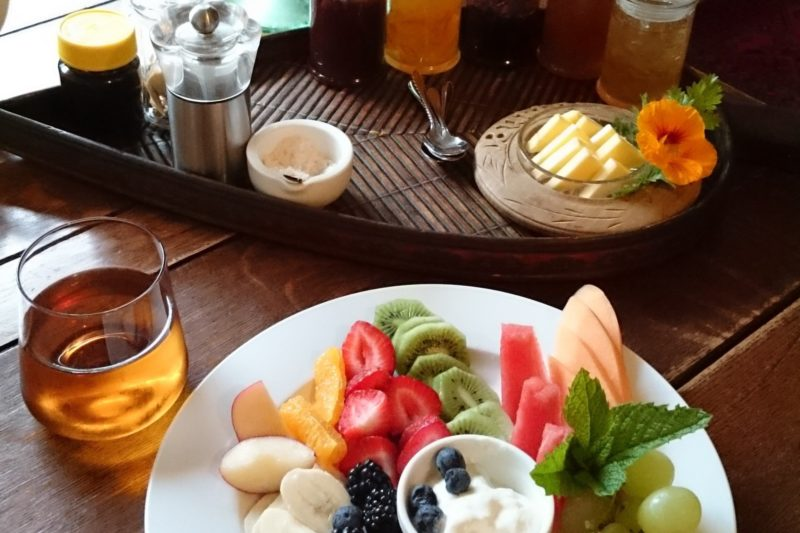Continental Breakfast at Sounds of the Sea B&B Port Campbell. Fresh fruit, muesli, yogurt, juice.