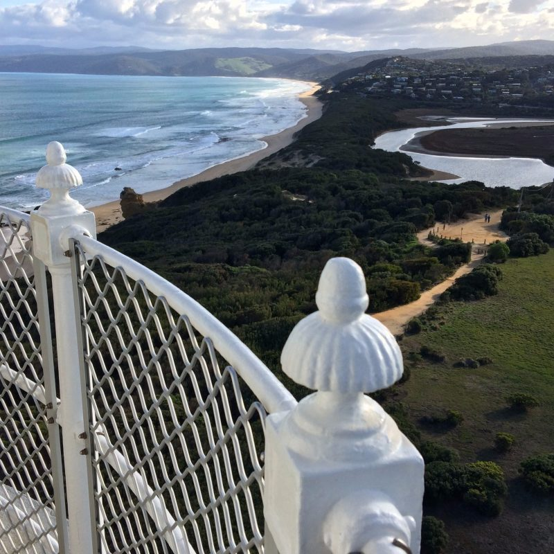 A view over the Fairhaven dune from the balcony of Split Point Lighthouse.