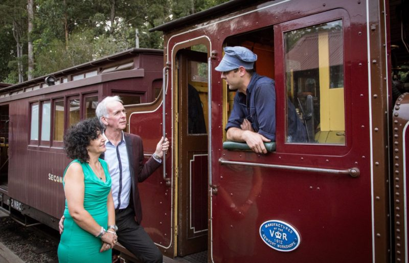 Couple meets Puffing Billy train driver