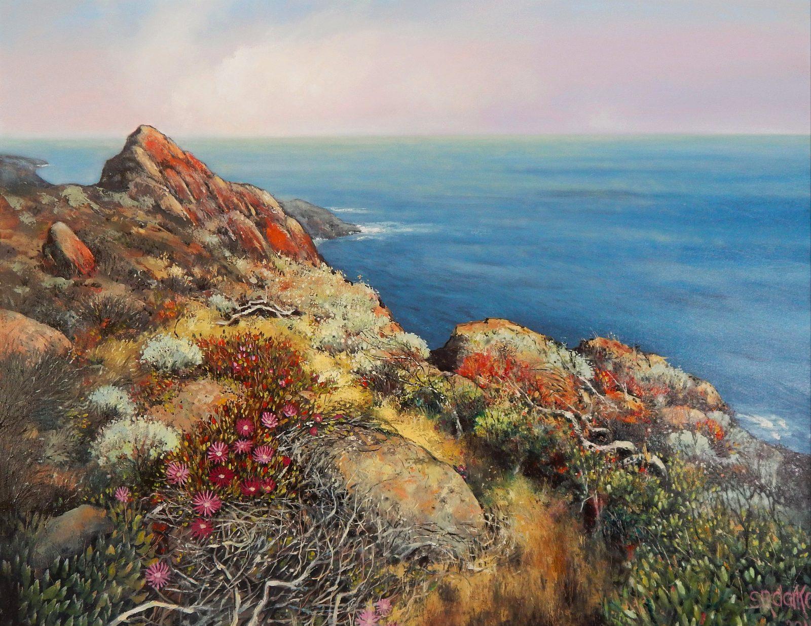 Metropolis Gallery - Stella Clarke 'Wildflowers High Over Blue' oil on canvas 2019 Size: 120 x 150cm